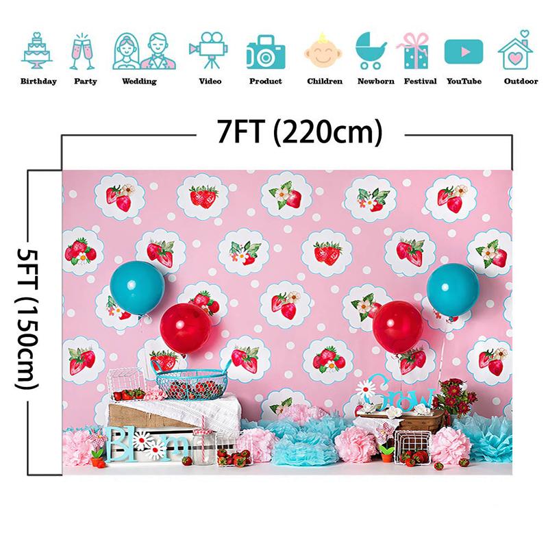 Fruit Sweet Strawberry Theme Girl Cake Smash Photography Backdrops Child 1st Birthday Baby Shower Props Photo Studio Background enlarge