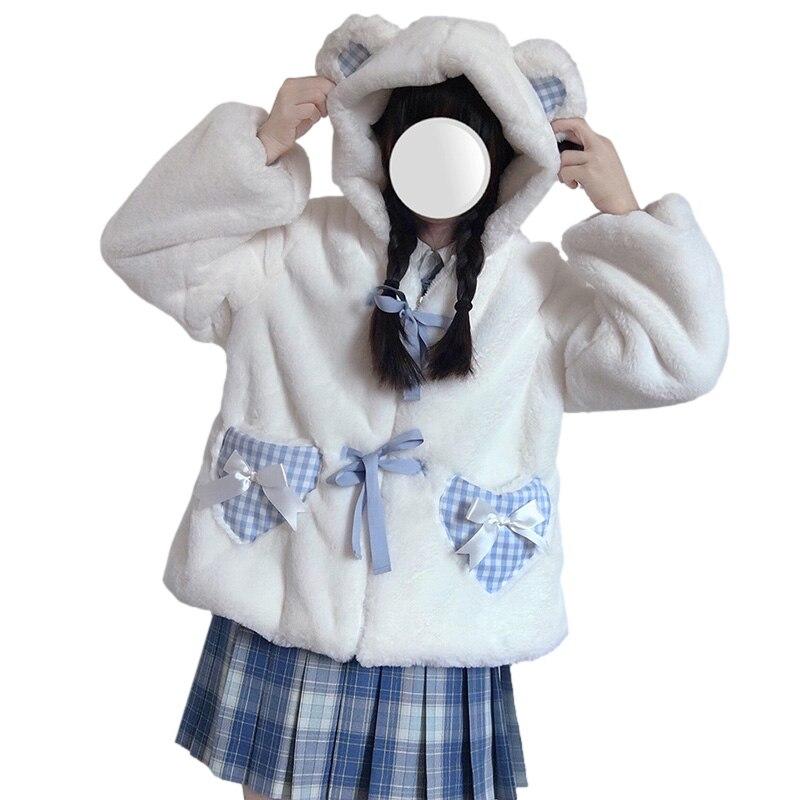 الشتاء لوليتا Kawaii الفتيات Fluffy معطف المرأة لطيف الدب الأذن مقنعين أفخم سترة فو الفراء سستة الكشمير منقوشة جيب ملابس خارجية