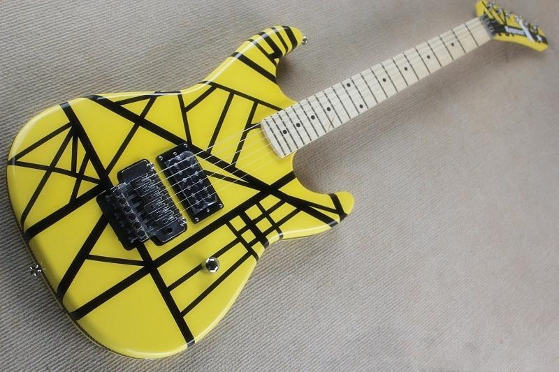 Guitarra Eléctrica Kramer evh, envío gratis, 22 trastes, guitarra eléctrica amarilla a rayas negras, 15-625