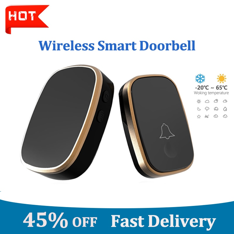 Doorbell Smart Wireless Remote Receiver Control of Household Waterproof Button Electronic Pager Door