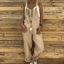 HEFLASHOR Rompers 2021 Women Casual Loose Cotton Linen Solid Pockets Jumpsuit Overalls Wide Leg Pant