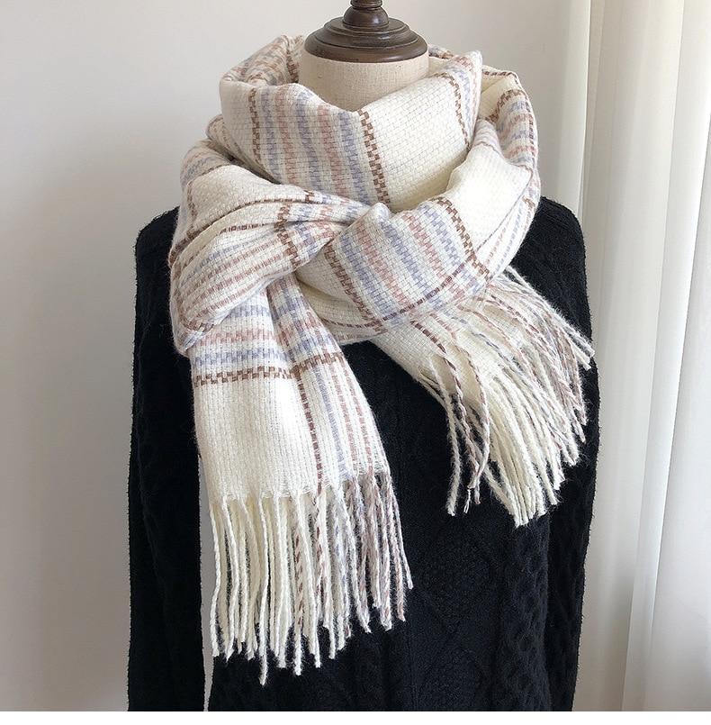 New style imitation cashmere plaid scarf women/man Europe/United States fashion winter thickened warm tassel cape scarf