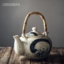 Chanshova alta capacidade 600/1000/1200ml chinês tradicional retro pintados à mão cerâmica bule de chá de bambu alça porcelana