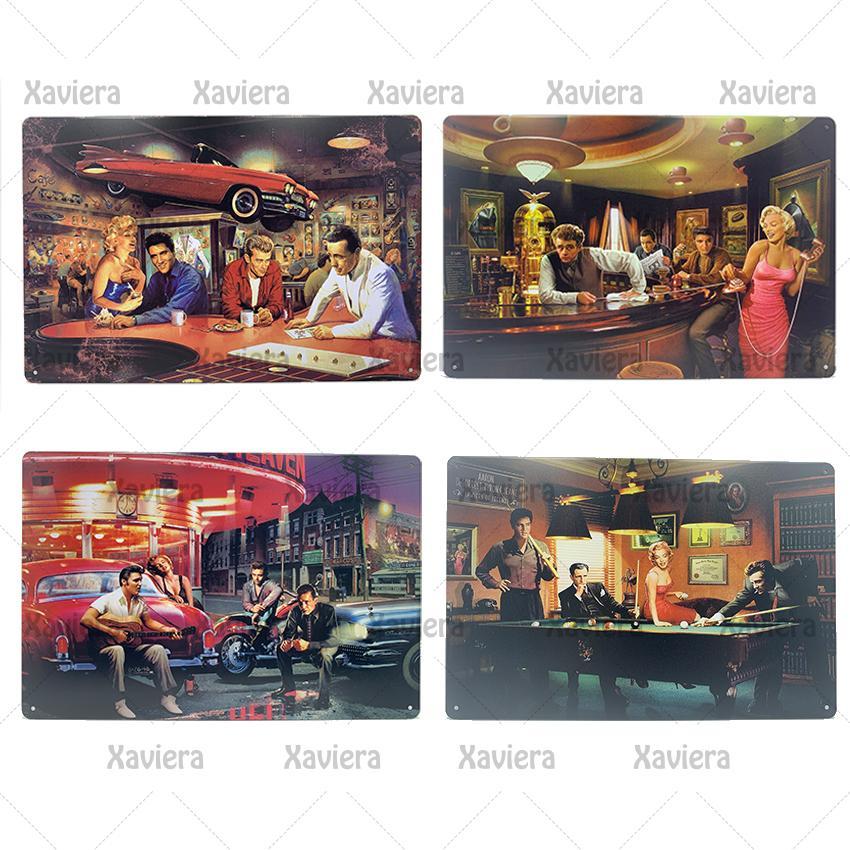 Movie Star Retro Metal Tin Sign Elvis Presley Monroe James Dean Snooker Vintage Plaque Wall Stickers Home Decor Bar Club Casino