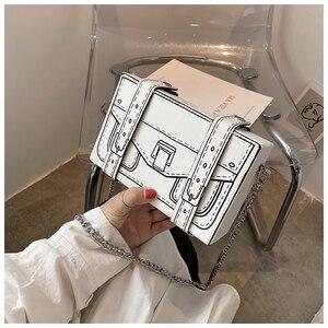 Black & White Box Leather Design Women Casual Purses and Handbags Fashion Clutch Bag Shoulder Chain Bag 2021 New handbag Pouch
