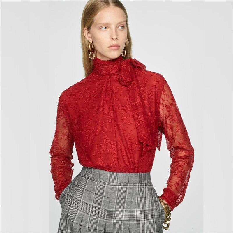 Za laço vermelho arco colarinho camisa feminina inverno outono na moda sexy inglaterra elegante camisa mais novo venda quente superior festa de férias atacado