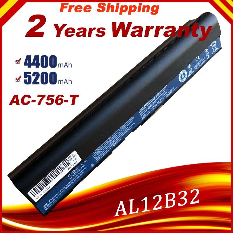 Batería de portátil para Acer Aspire One 710 756 V5-171 AL12B31 AL12B32 para ACER Aspire One V5-171 Series, envío gratis
