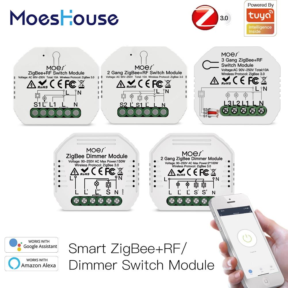 Tuya ZigBee 3.0 Smart Light Switch Relay Module 1/2/3 Gang Smart Life/Tuya App Control, Works with Alexa Google Home Yandex
