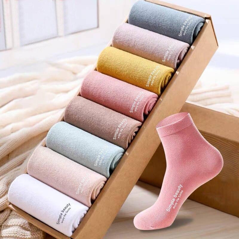5 زوج/وحدة Hot البيع النساء جوارب قطنية بسيطة الجمال الكلمات الإنجليزية ضوء نقي/مجموعة اللون الداكن جودة عالية الخريف الشتاء الجوارب