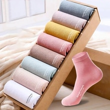 5 pairs/Lot Hot Sale Women Cotton Socks Simple Beauty English Words Pure Light/Dark Color Group High