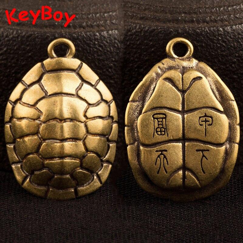Cobre puro animais míticos tartaruga escudo auspicioso sorte bolso chaveiro pedants jewlery chinês feng shui chaveiros enforcamentos