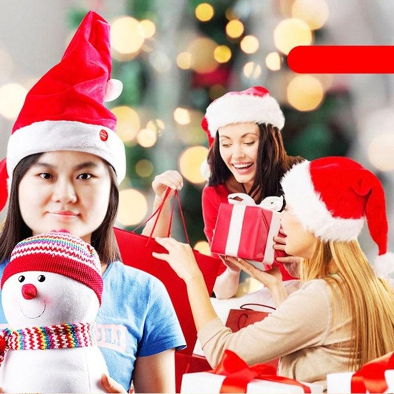 Sombrero de Papá Noel de felpa mágico eléctrico divertido Gorro de Navidad...
