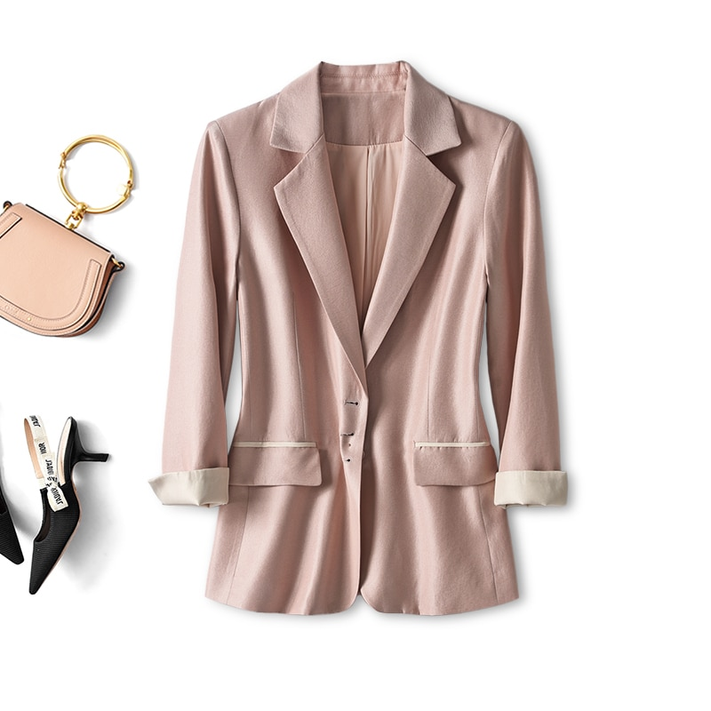 SHUCHAN Womens Blazers Pink Regular Full Casual Solid Single Breasted Notched Office Lady Summer 2021 Polyester  Ladies Tops