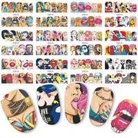 1 set 12 nail designs full cover water transfer sticker fashion sexy cute designs slider cool girl lips nail beauty decoration