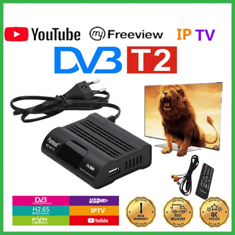 Pantesat HD99 FTA HEVC 265 DVB T2 Digital TV Tuner H.265 TV Receptor Full HD DVBT2 Set-top Box Wifi