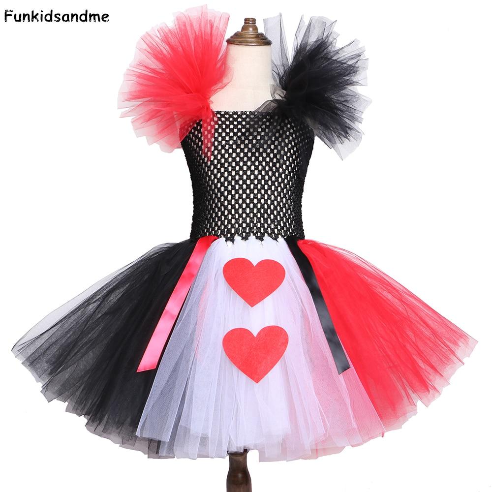 Red Black White Queen of Heart Tutu Dress Alice In Wonderland Fancy Party Costumes for Girls Kids Halloween Birthday Dress 2-12Y
