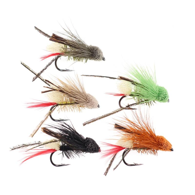5 uds. Cebo de langosta mosca Spinner cebos biónicos hierba seca embudo trucha arco iris lubina mosca pesca señuelos con 10 # gancho