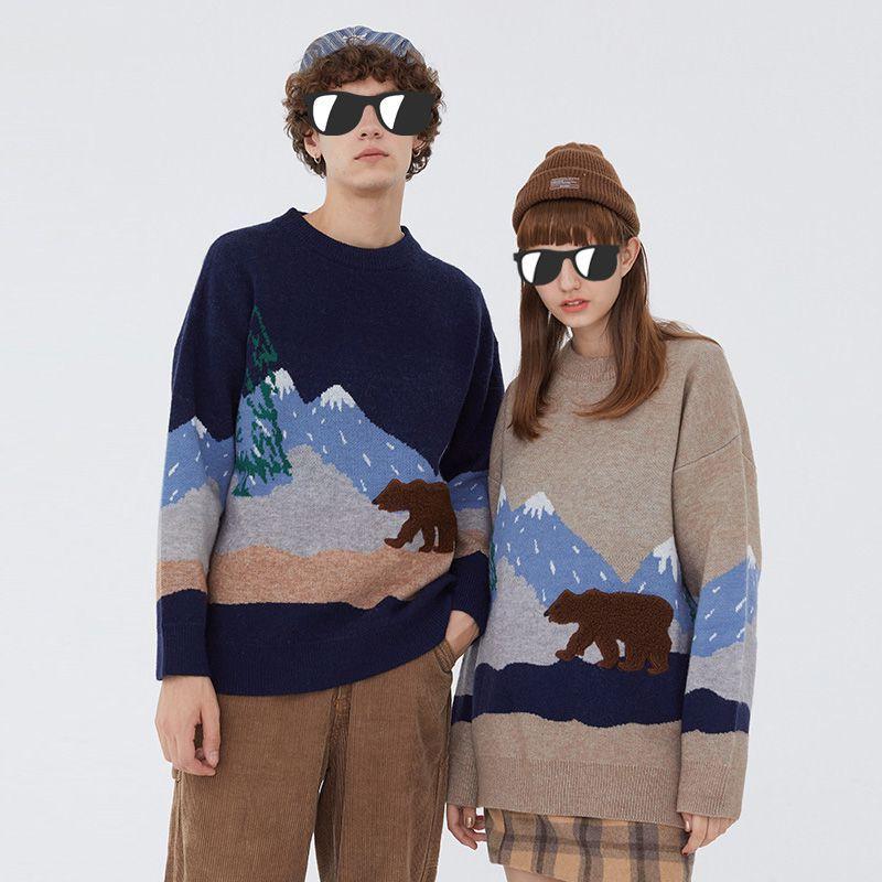Youth Men mountain Winter maglione di lana coppia Pullover uomo o-collo abiti lavorati a maglia uomo donna Casual Harajuku top oversize