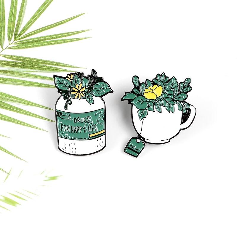 Planta pintura vaso de flores esmalte pino crisântemo listando drogas para a vida feliz verde saúde roupas crachá jóias broche presente