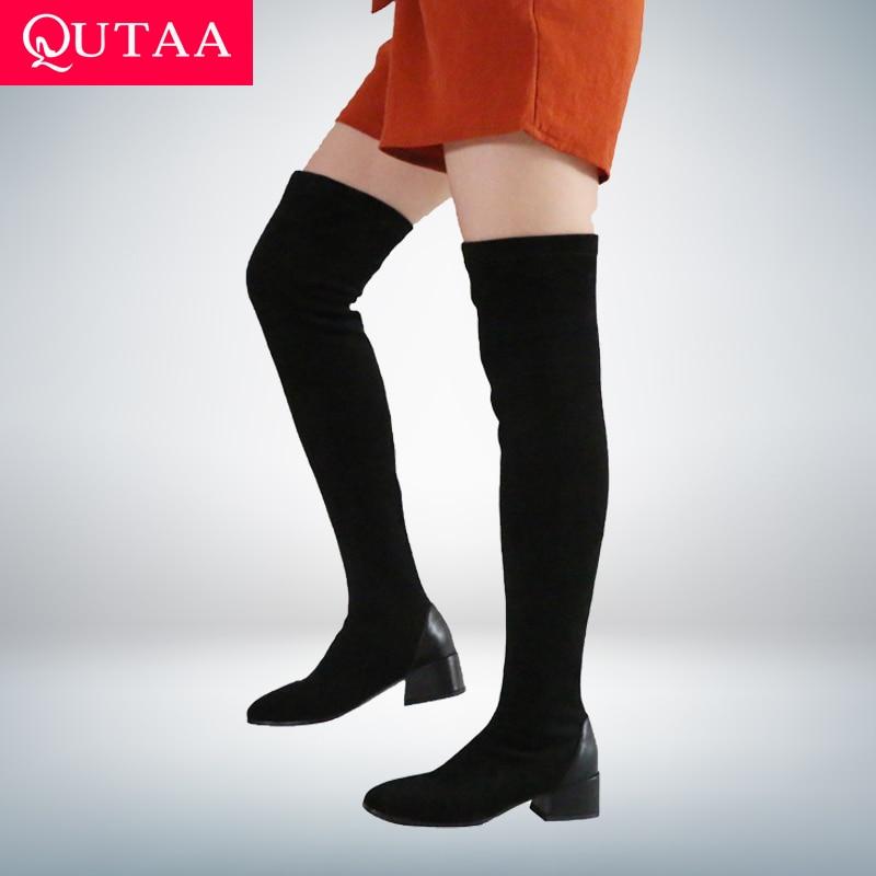 QUTAA 2021 النساء فوق الركبة أحذية الخريف الشتاء ساحة تو أحذية النساء تمتد قطيع بولي PU كعب مربع أحذية طويلة حجم 34-43