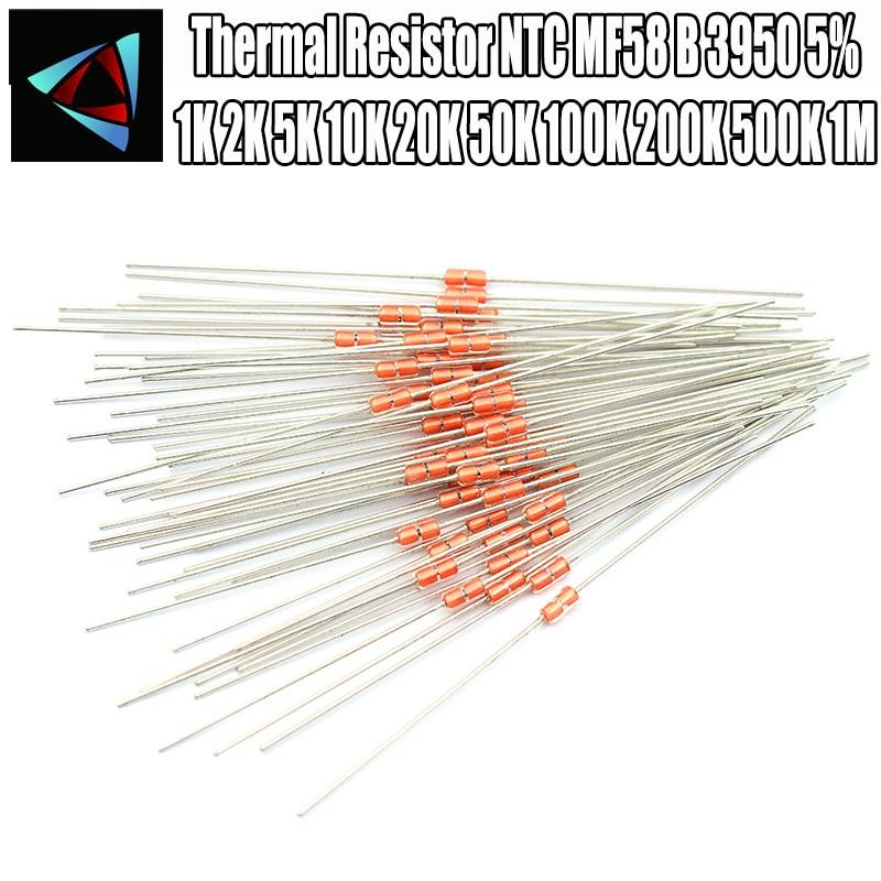 20pcs Thermal Resistor NTC MF58 3950 5% B 2K 5K 10K 20K 50K 100K 200K 500K 1M ohm