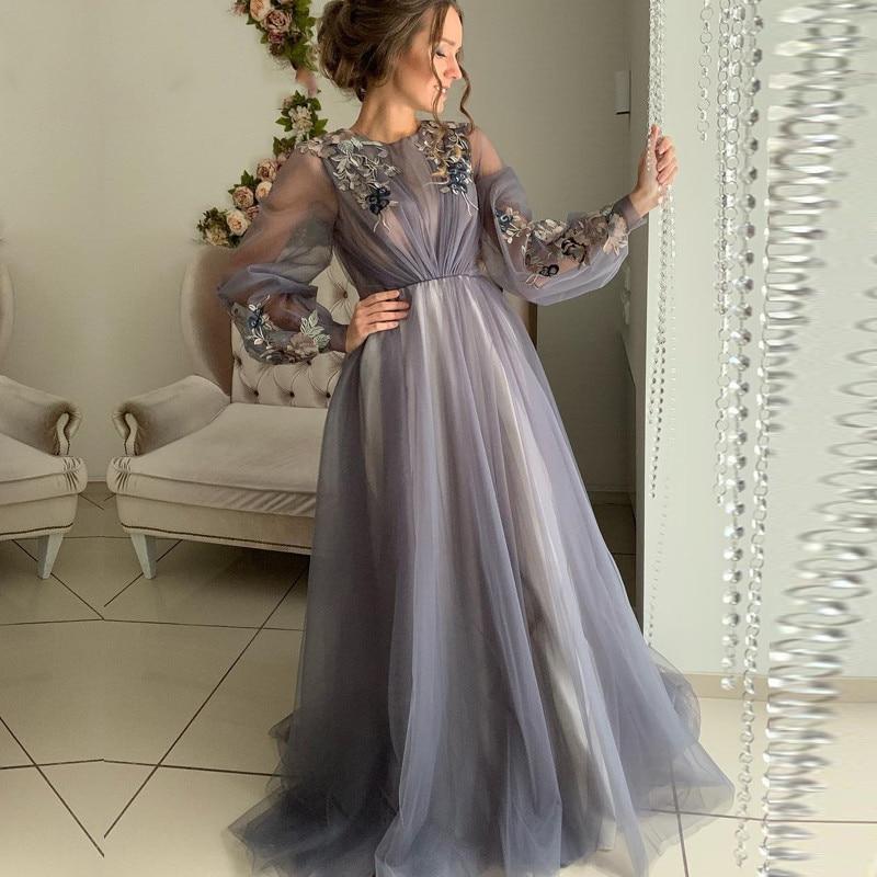 Eightale/Вечерние платья серого цвета в арабском стиле в Дубае; Вечерние платья с круглым вырезом и длинными рукавами для выпускного вечера; Пла...