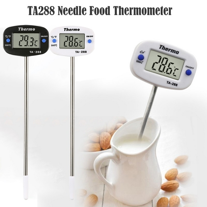 digital instant read voice broadcast food bbq cooking thermometer with lcd backlit display foldable probe for steak milk water m Electronic Needle Food Thermometer Instant Read Digital Thermometer for Drink, Milk, Coffee and BBQ water Thermometer  kitchen