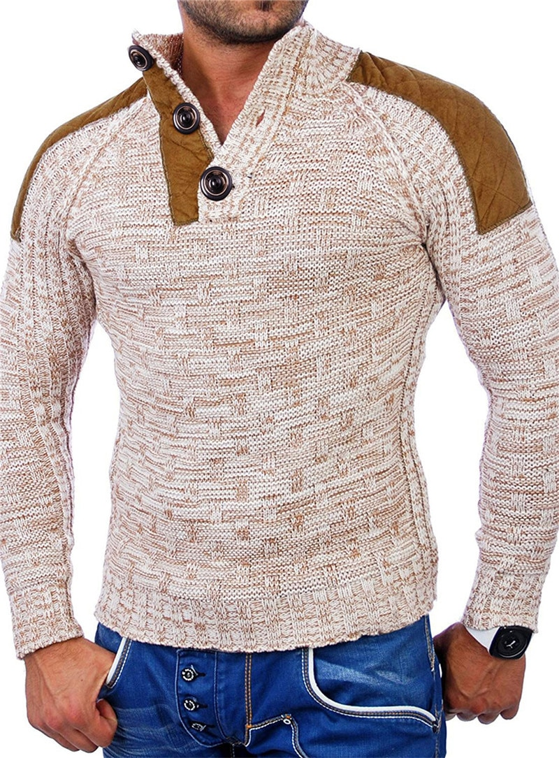 European and American Men's Casual Sweater Coat Personalized Deer Velvet Stitching Sweater Sweater Men's Sweater
