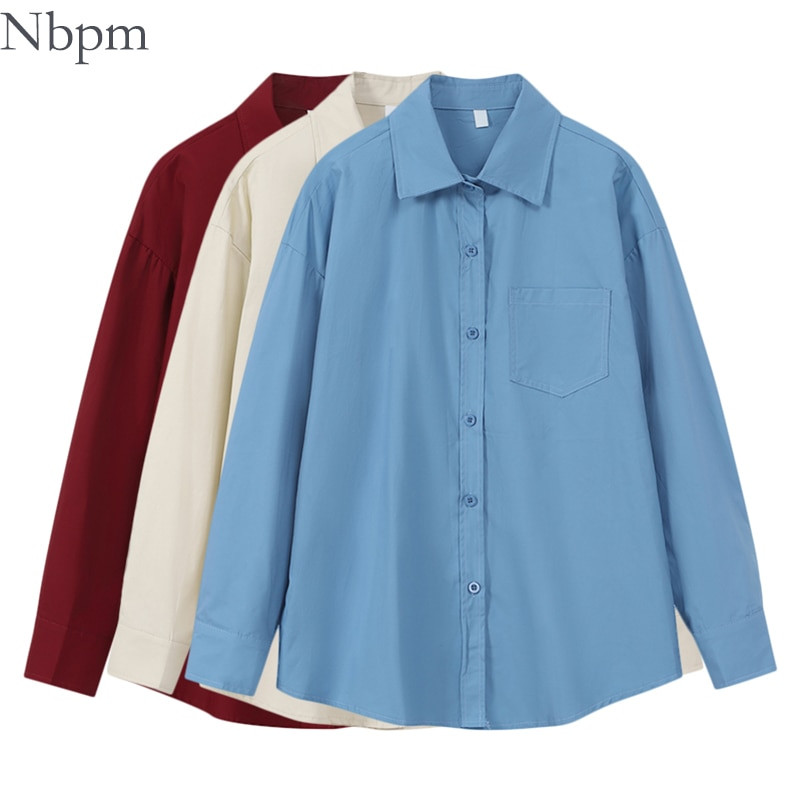 Nbpm Spring Summer 2021 Women Fashion Solid Vintage Blouse Long Sleeve Casual Loose Shirt Women's Clothing Top  Blusas Mujer