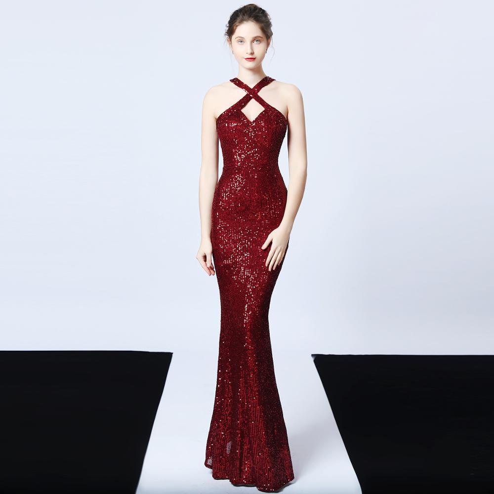 فستان سهرة على شكل حورية البحر مع أحزمة ، ياقة معلقة ، ترتر ، فستان سهرة رسمي ، رسن