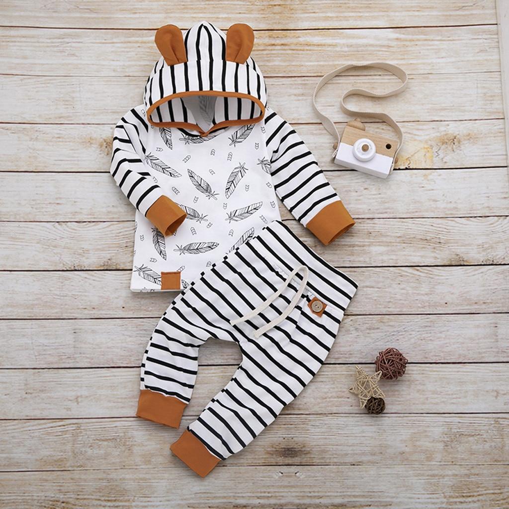 2019 Venta caliente bebé recién nacido chico chica pluma T camisa camisetas a rayas pantalones ropa trajes conjunto Dropshipping. Exclusivo. Ropa de bebé *