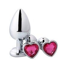Plug anal en métal en forme de coeur jouets sexuels en acier inoxydable lisse godemichet Anal queue cristal bijoux formateur pour femmes/homme gode anal