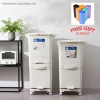 38424548l trash can double layers garbage cans kitchen vertical waste sorting bins with wheel garbage holder storage
