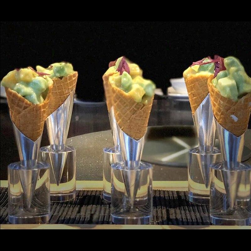 1PCS Ice Cream Holder Acrylic Cupcake Ice Cream Cones Holder Stand For Wedding Party Buffet Display Ice Cream Tool