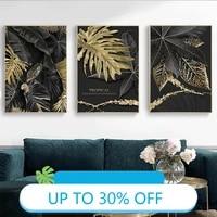 Affiches de peinture sur toile  plante doree  feuilles tropicales modernes  tableau dart mural pour decoration de salon  decoration de maison