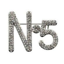 Элегантные Очаровательные женские броши с буквенным принтом 5, большие брендовые булавки-брошки с кристаллами, модные ювелирные изделия для женщин и девочек, заколки для шарфов, аксессуары для платьев