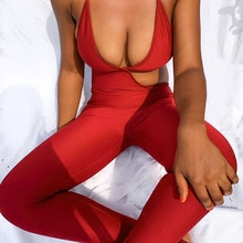 QuanRun Sexy Women Solid Hollow Out Irregular Halter Jumpsuits Fashion Casual Femmal Clothing Party