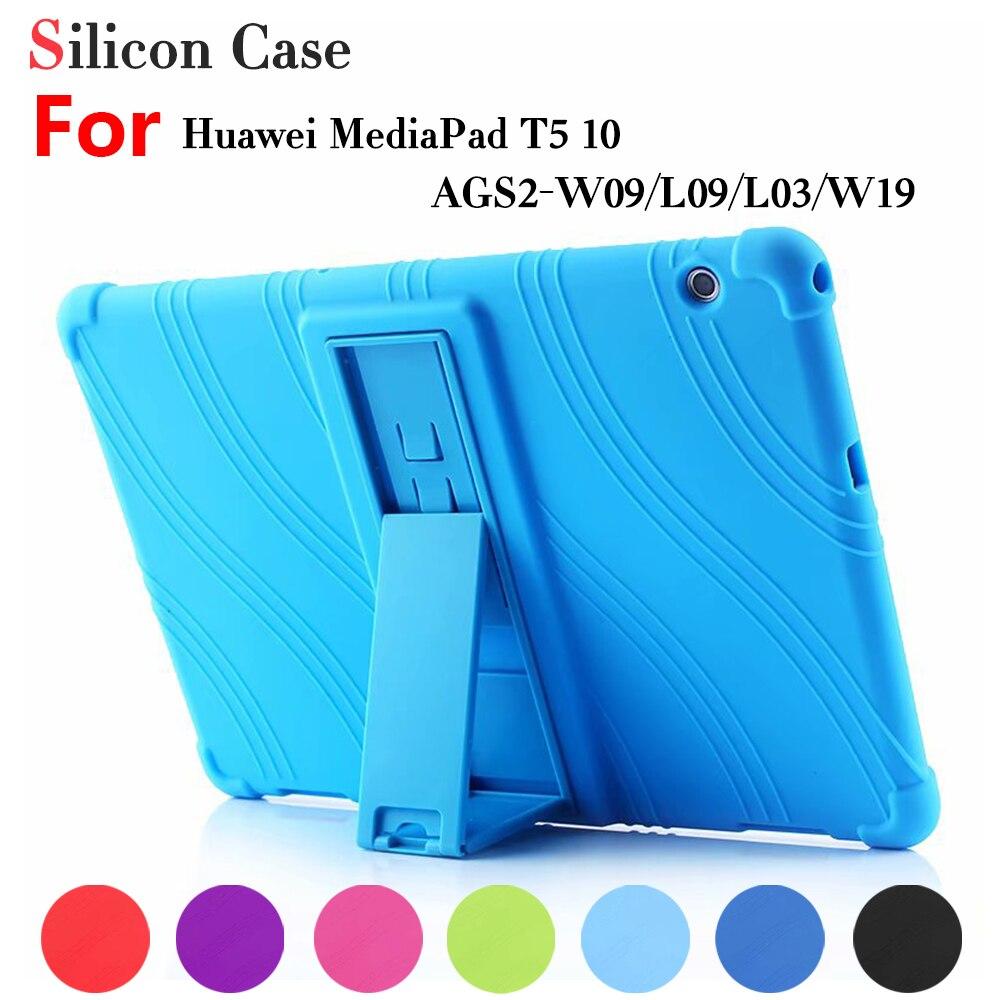 "Capa de silicone para huawei mediapad t5 AGS2-W09/l09/l03/w19 10.1 ""tablet suporte capa para huawei mediapad t5 10 caso macio + caneta stylus"