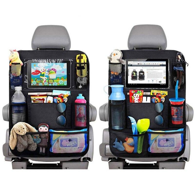 Organizador para asiento trasero de coche, cobertores con funda de pantalla táctil...