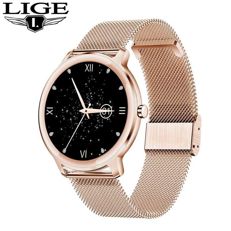 LIGE موضة جديدة ساعة ذكية امرأة ساعة الموضة رصد معدل ضربات القلب النوم ل أندرويد IOS IP68 مقاوم للماء السيدات Smartwatch
