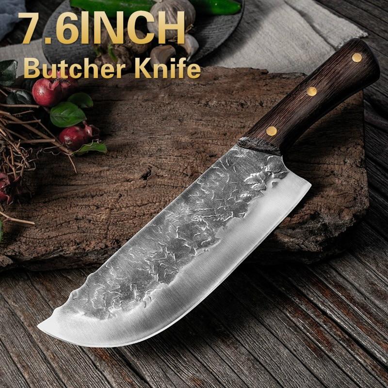 7,6 дюймовый кованый кухонный нож ручной работы мясницкий нож для нарезки мяса китайский шеф-повар 5CR1 5 нержавеющая сталь нож для нарезки мяса 2900 293525 350 мм черный