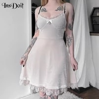 insdoit y2k sexy gothic grunge dresses women velvet vintage lace summer a line dress fashion punk harajuku elegant party dress