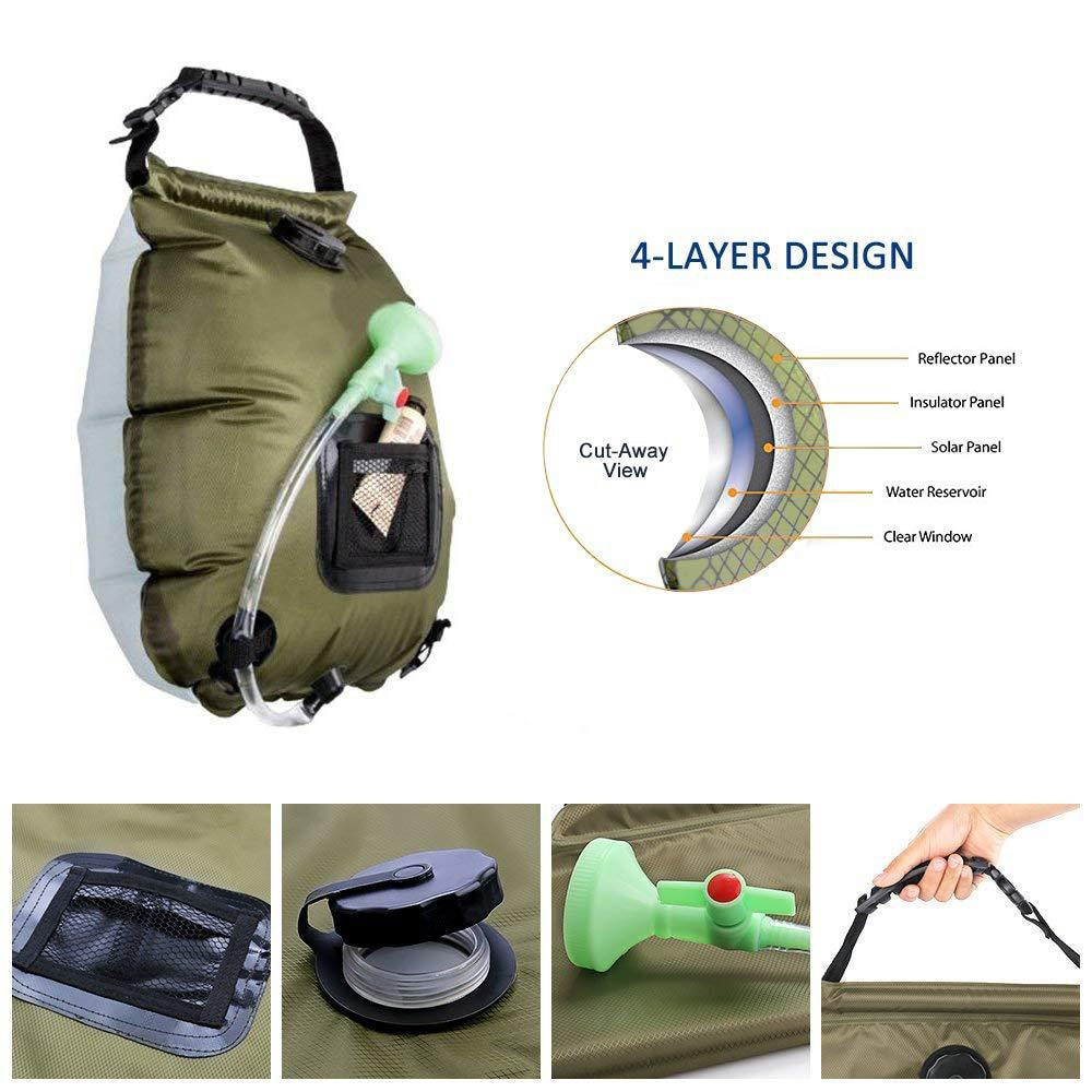 20L Outdoor Solar Hot Shower Bag Portable Shower Bag Camping Shower Bath Water Bag Large Capacity Camping Shower Supplies Set