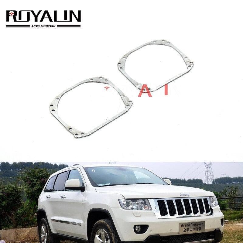 Marco de soporte de montaje de transición de lentes de faro ROYALIN para Jeep Compass Grand Cherokee Q5 Hella 3r lente de proyector Bi Xenon