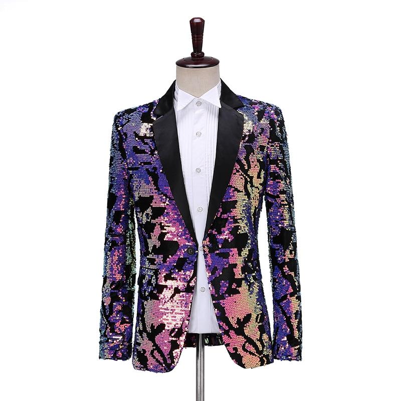 Chaqueta de traje de lentejuelas con tapa a la moda para hombre, chaqueta informal con solapa, Blazer ajustado para fiesta, cantante o bailarina, traje brillante para DJ