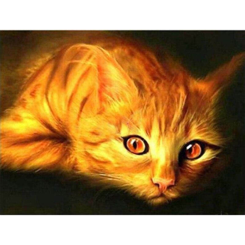 LZAIQIZG DIY diamante mosaico Animal gato naranja costura cuadrado completo diamante pintura punto de cruz diamante cristal pared arte