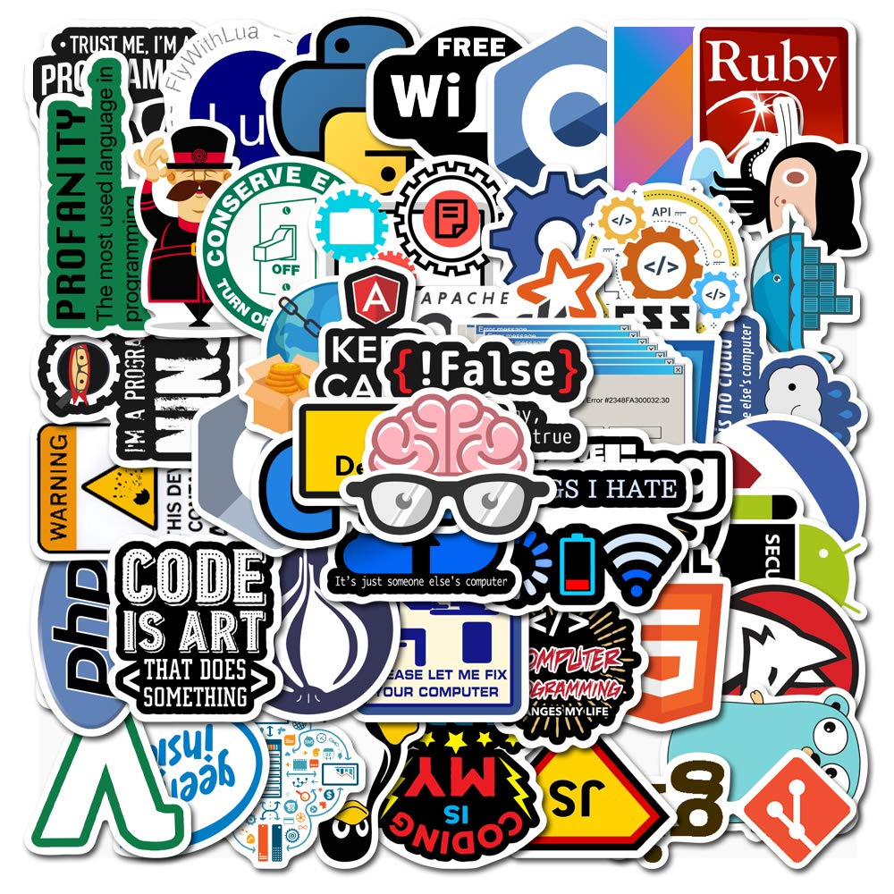 10/30/50PCS Programmer Geek Internet Java Stickers Skateboard Guitar Suitcase Freezer Motorcycle Graffiti Classic Toy Stickers