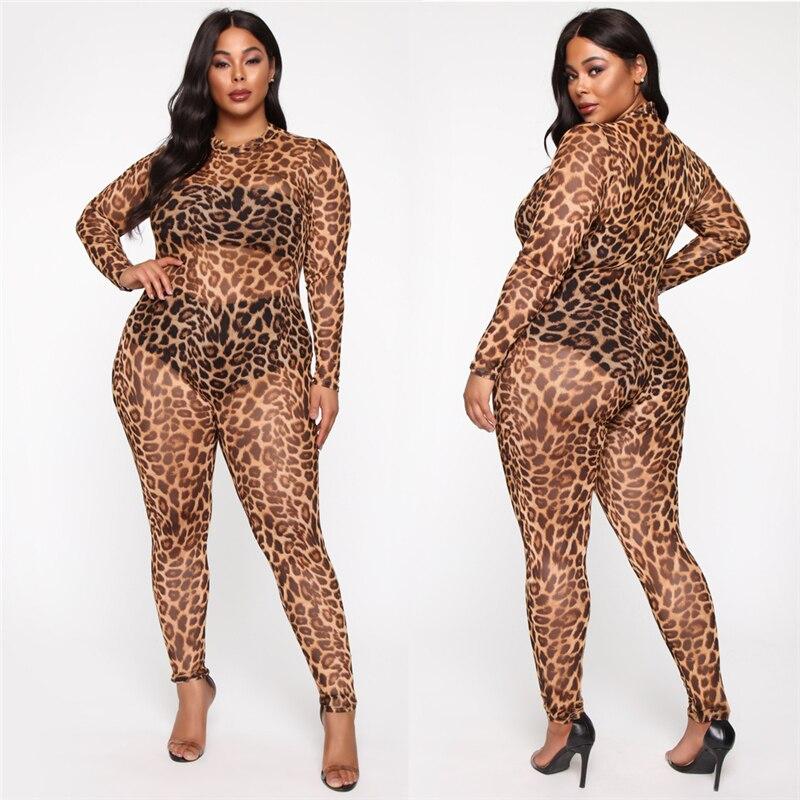 2019 New Fashion Women Sexy Long Sleeve Leopard Bodycon Romper Jumpsuit Mesh Bodysuit Club Trouser