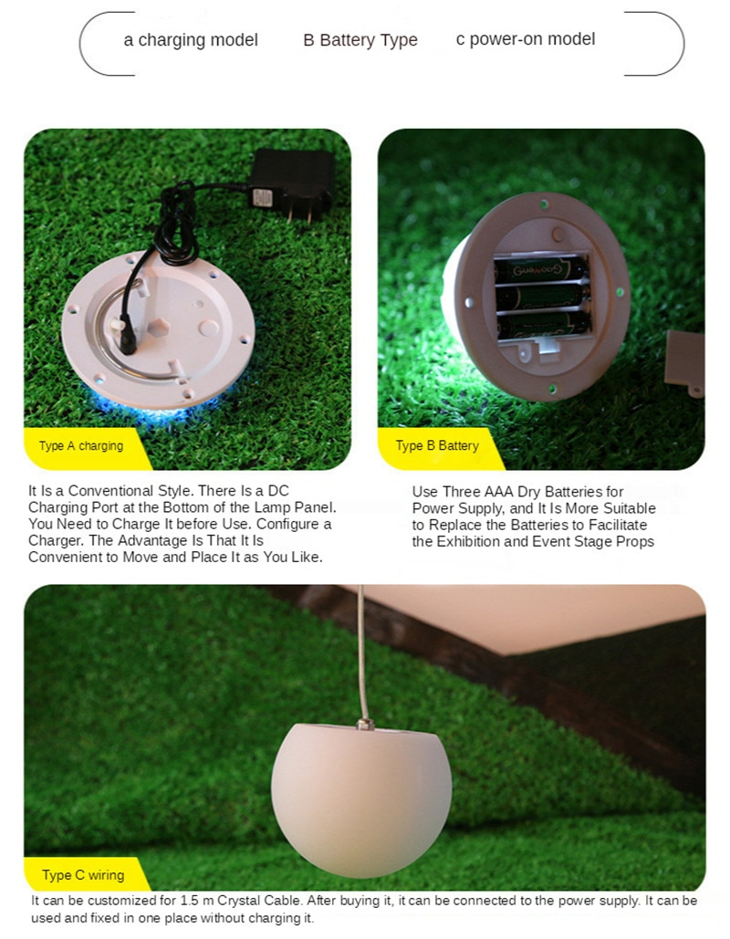 Outdoor Garden Glowing Ball Light Remote Lawn Lamps Patio Landscape Pathway LED Illuminated Holiday Lighting Colorful Charging enlarge
