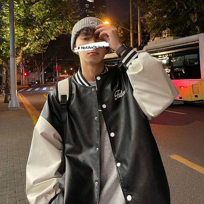 Бейсбольная униформа, мужские куртки, корейская мода, трендовая кожаная куртка в стиле High Street, мужские Красивые куртки в гонконгском стиле д...